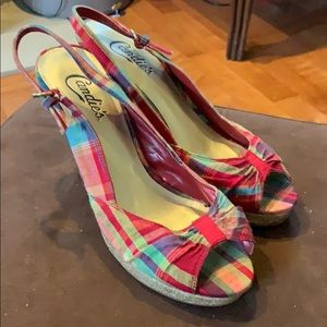 Adorable red plaid size 8 heels.  Candie's brand